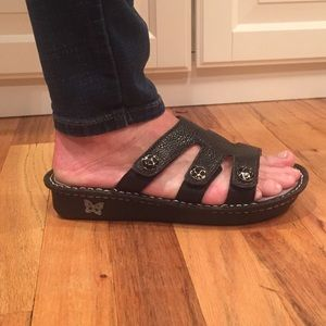 Alegria black leather sandals